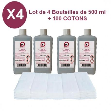 4 Diss'Ongles ACETONE 4X 500 ML + 100 carrés de cellulose