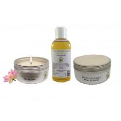 Kit coffret cadeau massage sensuel bien être Lotus
