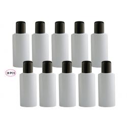20 Flacons transparent vide de 100 ml, avec bouchon reducteur, spécial conditionnement gels et huiles