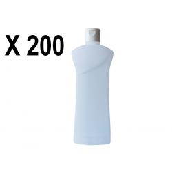 Lot de 200 Flacons PEHD transparent vide de 1000 ml, avec capsule réductrice, spécial huile de massage, gel hydroalcoolique