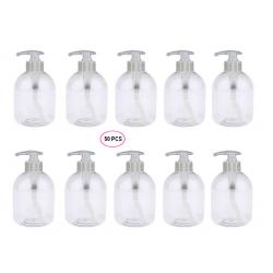 50 Flacons Pompe transparents vides de 300 ml, spécial Conditionnement Gels et huiles,