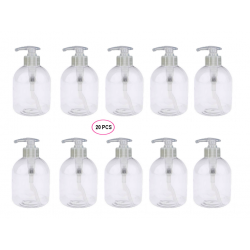20 Flacons Pompe transparents vides de 300 ml, spécial Conditionnement Gels et huiles