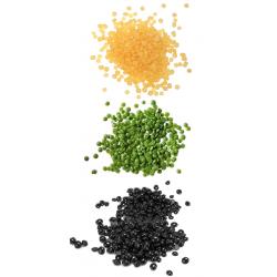 Perles de cire à épiler pelable couleur mixte : Noir, Vert et Jaune Miel, épilation sans bande - 3 sachets de 1000gr, soit 3 KG